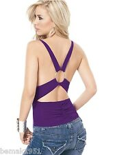 Purple Sleeveless Cowl Front O-Ring Back Top Espiral Lingerie Large NIP 9702