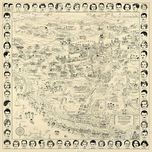 1937 Map of the Stars Hollywood California 24x24