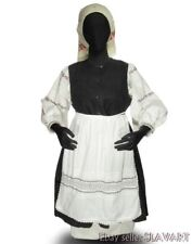 Vintage Ukrainian folk costume XL embroidered natural linen blouse dress apron