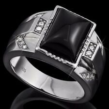 Created Diamond 925 Sterling Silver Men Ring 4 1/3 Ct Black Agate &1 Ct Flawless