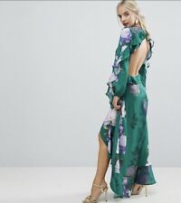 10 Uk  New Asos Green Floral Print Frill Maxi Dress Open Back Backless Cut Out