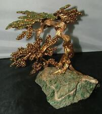 Vintage 1960's Swoboda Genuine Jade Gemstone & Gold Large Bonsai Tree Sculpture