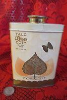 "Collectible Vintage ""L'Origan"" Coty  Talc Powder Tin-leaf"