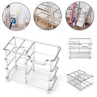 Stainless Steel Bathroom Toothbrush Holder Metal Toothpaste Stand Storage Rack