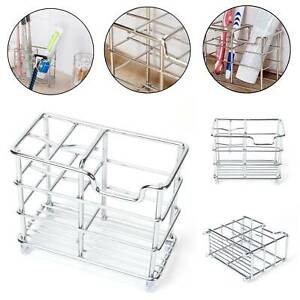 Stainless Steel Bathroom Toothbrush Holder Metal Toothpaste Stand Storage Rack