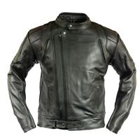 Herren Motorrad Lederjacke Chopper Biker Jacke Motorradjacke mit Protektoren