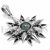 Men's Vintage Retro Stainless Steel Titan Apollo Compass Pendant Necklace Chain