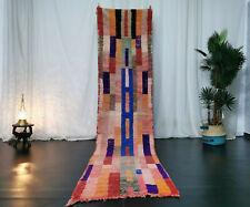 Moroccan Handmade Vintage Runner Rug 2'4x10'5 Berber Abstract Pink Wool Carpet