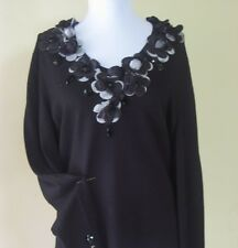Philippe Carat Evening Knitted Long Sleeve Blouse L/XL Black Color