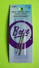 3pc Wrights (#37515) Boye CREWEL EMBROIDERY NEEDLES Size 20 Craft Needlework NIP