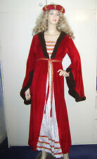 Ladies Tudor Medievale Rinascimentale Lady Marion Red Fancy Dress Costume 10-14 USATO