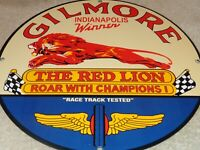 "VINTAGE GILMORE INDIANAPOLIS 500 WINNER 11 3/4"" PORCELAIN METAL GAS & OIL  SIGN!"
