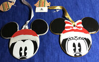 Disney Parks Mickey And Minnie Mouse Ceramic 2 Ornaments