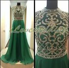 Emerald Green Chiffon Evening Dress A-Line Crystal Formal Party Prom Gown Custom