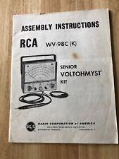 Rca Senior Voltohmyst Type Wv 98c Original Manual