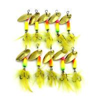 10 Pcs/Set Metal Fishing Baits Metal Golden Spinner Lures Fishing Gears 5.5cm UK