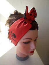 RED BLACK BANDANNA SKULL and CROSSBONES SCARF HAIR BAND HALLOWEEN PIRATE EMO