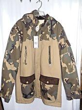 Marc Ecko Cut & Sew Tan & Camo Coat Size Medium NWT