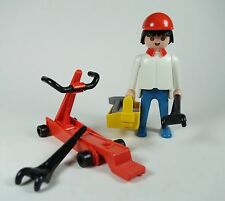Vintage Playmobil 3303~Extremely Rare~Racing mechanic with floor jack tools