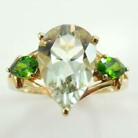 9ct Yellow Gold Ring Set With Chrome Diopside & Green Amethyst