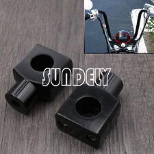 2x 1'' Black Billet Motorcycle Handlebar Risers Clamp For Harley Bobber Chopper