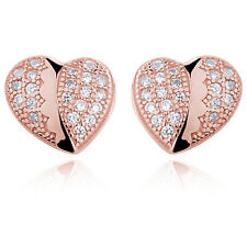 925 STERLING SILVER HEART EARRINGS STUDS WITH ZIRCONIA - ROSE GOLD PLATED