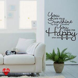 You are my sunshine my only sunshine lyrics vinyl wall art sticker