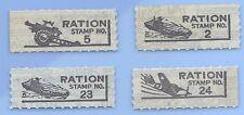 USA  WW2 War Rations Plane Air Craft Carrier Tank Ration stamp set lot WW2 Era