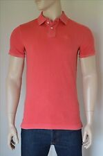 NEW Abercrombie & Fitch Classic Big Icon Polo Shirt Washed Red Moose Logo L
