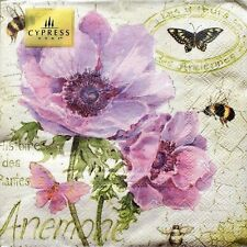 cYPRESS hOME Set of 40 Luncheon Decoupage Napkins - Anemone Bees