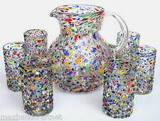 Confetti Rocks Multicolor pitcher and 12 drinking glasses set
