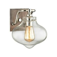 ELK Lighting Kelsey 1-Light Vanity Lamp, Nickel & Weathered Zinc/Clear - 31940-1