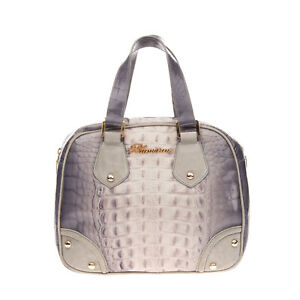 RRP €565 BLUMARINE Leather Dome Tote Bag Croc Embossed Suede Trim Made in Italy