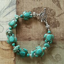 FASHION TURQUOISE HOWLITE TURTLE, TURQUOISE & SILVER BEADS $21.00!