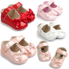 Toddler Baby Girl Bowknot Leater Shoes Sneaker Anti-slip Soft Sole Toddler RD12