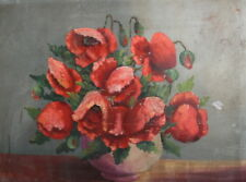 Still Life with poppies antique oil painting