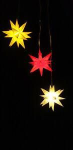 Leuchtstern 3D Weihnachtsstern 11cm weiß rot gelb mit Timer LED  Batterie