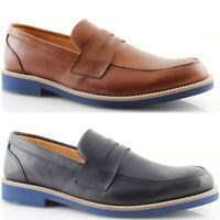 Mocassini Uomo Eleganti College vera pelle blu cuoio scarpe Made in Italy 471