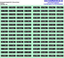 N-Loknummern DR Dampf 01-52 weiß auf schwarz, Siebdruck Decals Kreye 160-1510
