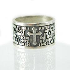 Anello fascia in argento con preghiera padre nostro in latino pater nostrum