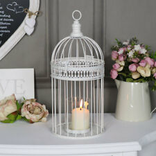 Ornate antique white birdcage candle holder vintage shabby chic wedding decor