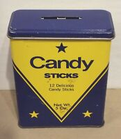 VINTAGE LEADER CANDIES CANDY STICKS TIN BANK BROOKLYN, NEW YORK