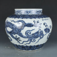 Chinese old antique Porcelain Xuande marked blue white dragon Phoenix jar pot
