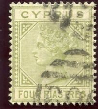 Cyprus 1881 QV 4pi pale olive-green very fine used. SG 14. Sc 14.