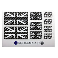 9X UK Union Jack flags Carbon fiber/white Laminated Decals Stickers for Triumph