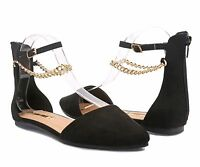 Black Color Fashion Ankle Strap Back Zipper Womens Pointed Toe Ballet Flats
