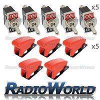 5x Missile Cover Toggle Flick Switch 12V ON/OFF Car Dash Light Metal SPST