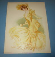 Old Vintage 1907 - Antique VICTORIAN PRINT - New York Show Girl - HIPPODROME
