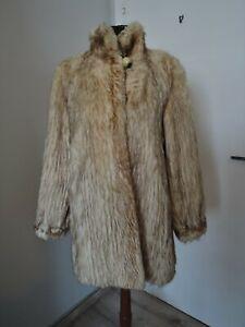 Vintage Coat Real Fur BEAVER Beige Brown M L Jacket