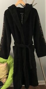 Black Emporio Armani Hooded Bathrobe. Made In Bulgaria